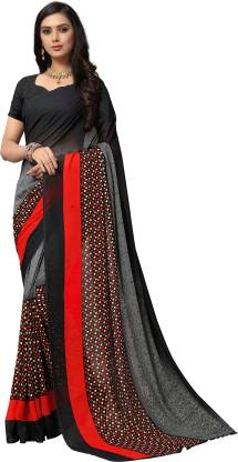Anand Sarees Ombre, Polka Print, Floral Print Daily Wear Georgette Saree