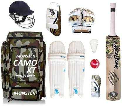 Monster Camoo XT Pro Full Size ( IDEAL FOR 15-21 YEARS ) Complete Cricket Kit
