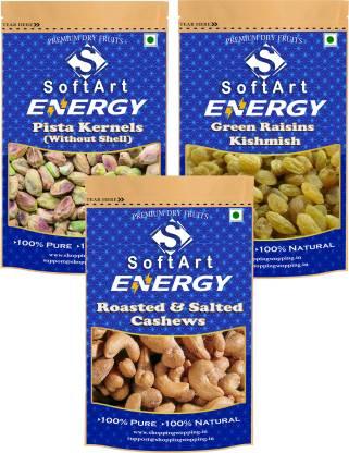 Soft Art Energy Pistachios Kernels, Green Kishmish (Green Raisins) & Roasted & Salted Cashew (250g Each) Vacuum Pack Pistachios, Raisins, Cashews