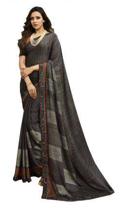 Self Design Fashion Georgette, Georgette Chiffon Blend Saree  (Grey)