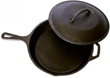 Rock Tawa Rock Tawa Cast Iron PAN 10.5 Inch with Lid Pre-Seasoned Cast Iron Skillet Fry Pan 26.67 cm diameter with Lid
