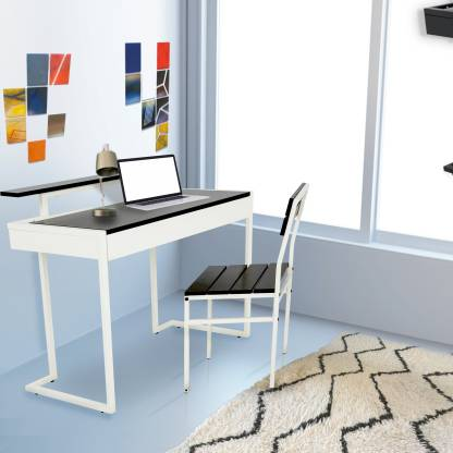 FurnitureKraft Classy  With Chair  Metal Study Table   Finish Color   White