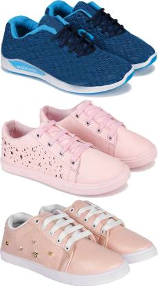 Combo pack of 3 sports and running shoes for Women Running Shoes For Women(Multicolor)