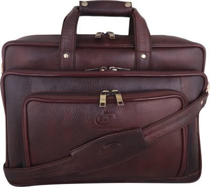 BLB Genuine Leather 25 Ltrs Brown Laptop Bag for Men with Padded Laptop GPBR1587 Waterproof Messenger Bag