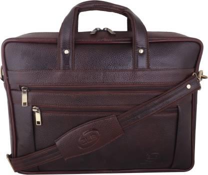 BLB Genuine Leather 25 Ltrs Brown Laptop Bag for Men with Padded Laptop GPBR1586 Waterproof Messenger Bag
