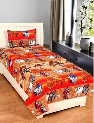 Chauhan Textile 120 TC Polycotton Single Printed Bedsheet