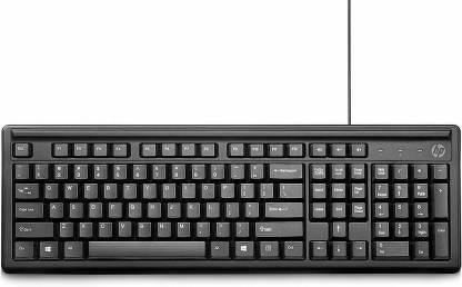 HP 100 Wired USB Multi-device Keyboard (Black) Wired USB Desktop Keyboard