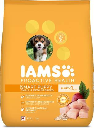 IAMS Proactive Health Smart Puppy Small & Medium Breed Dogs (<1 Years) Chicken 3 kg Dry New Born Dog Food