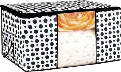 Billion Designer Polka Dots Design Non Woven Underbed Storage Bag,Cloth Organiser,Blanket Cover with Transparent Window (Black & White) - BILLION38108 BILLION038108