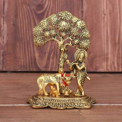 Chhariya Crafts Metal Krishna with Cow Standing Under Tree Plying Flute Decorative Showpiece - 17 cm  (Brass, Gold)