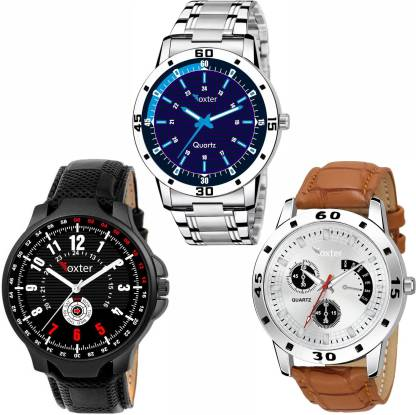 FOXTER Black Blue White Dial Combo Pack Of -3 Piece Analog Watch - For Men