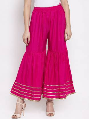 Flared Women Pink Rayon Trousers