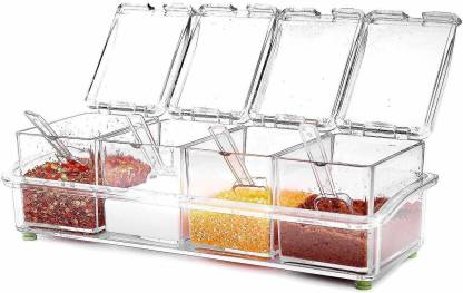 KASHTABHANJAN Crystal Seasoning Acrylic Box Pepper Salt Spice Rack Plastic 4 Box with Spoons Kitchen See Through Storage Containers Cooking Tools 1 Piece Spice Set (Crystal) 1 Piece Spice Set