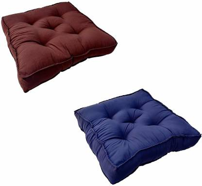 PUMPUM Border Chair pad 2 Pack Cotton Solid Chair Pad Pack of 2