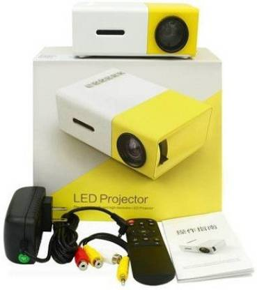 Mankrit Mini YG-300 LED Projector with USB/SD/AV/HDMI Input - 320 x 240 Pixels 3.5mm Audio Interface White/yellow led Pocket Portable Projector (Yellow/ White) Portable Projector