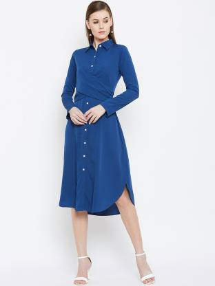 Women Wrap Blue Dress