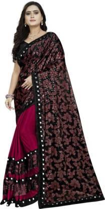 G-Stuff Fashion Printed, Embellished Bollywood Lycra Blend Saree