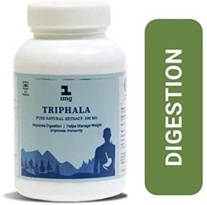 1MG Triphala Extract 100% Natural Detoxification & Rejuvenation-500 mg-60 Veg Capsules