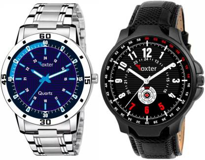 FOXTER New Combo Pack of 2 Piece Black, Blue Dial Analog Watch - For Men