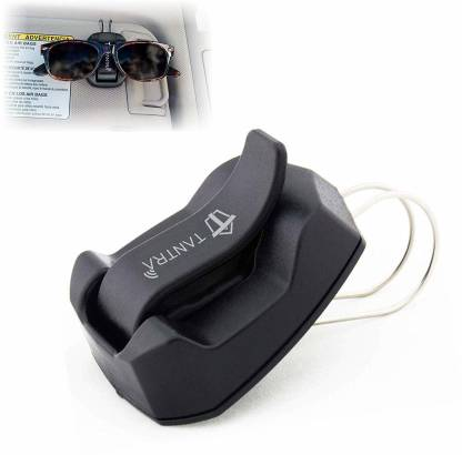 TANTRA Clipper Sunglasses Holder for Sun Visor/Air Vent - Conveniently Holds Sunglasses Easy One Handed Operation (Black) Black Car Sunglass Clip Holder