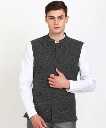 Sleeveless Self Design Men Jacket