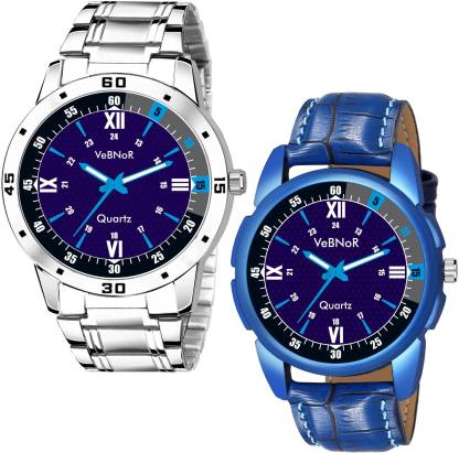 VeBNoR Combo Pack of 2 Sports Design Blue Dial Analog Watch - For Boys