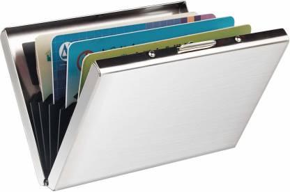 OFIXO Purse Type Well Looking Men's Debit/Credit/Visa Stylish Metal Silver Pocket ATM 6 Card Holder (Set of 1, Silver) 6 Card Holder