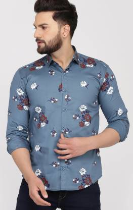 BOSQUE Men Printed Casual Grey Shirt