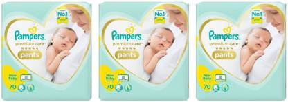 Pampers PREMIUM CARE BABY, SIZE NEW BORN, 70 PCS. PACK, COMBO OF 3 - New Born