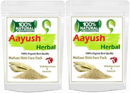 """Aayush herbal MULTANI MITTI POWDER (With Rose petals & Turmeric) FOR Face & Hair 100% BEST QUALITY :100gX2 """" PACK OF 2"""