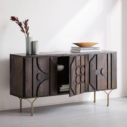 The Home Dekor Solid Wood Side Table, Living Room Storage Cabinet