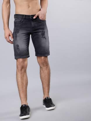 Highlander Washed Men Black Denim Shorts