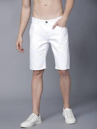 Highlander Solid Men White Cargo Shorts