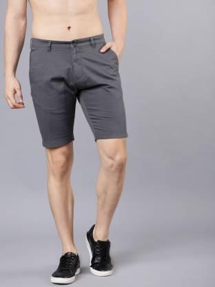 Highlander Solid Men Grey Chino Shorts