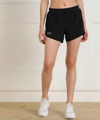 Solid Women Black Running Shorts