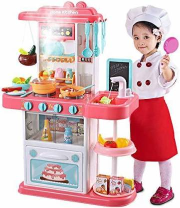 Moover Kitchen Playset Kids Play Kitchen With Realistic Lights Sounds Simulation Of Spray Play Sink With Running Water Dessert Shelf Toy Kitchen Accessories Set For 4 Year Old Girls Kitchen Playset