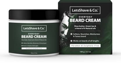 LetsShave Everyday Beard Cream for men, softens & moisturizes for easy maintenance, 100 g Beard Cream