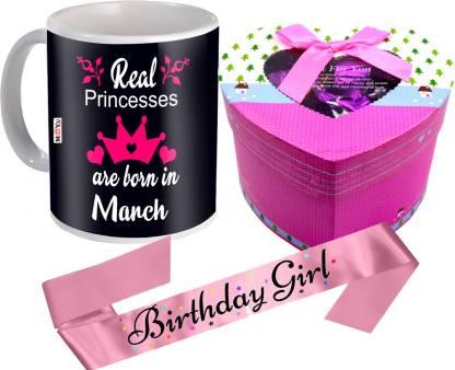 Midiron Birthday Gifts  March Princesses Printed Mug   Chocolate Box   Birthday Girl Sash Ceramic, Cotton Gift Box