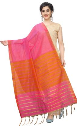 VJ FASHION Cotton Silk Checkered Women Dupatta