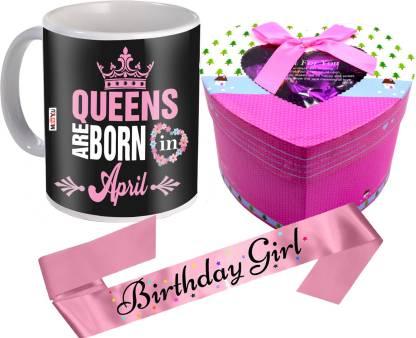 Midiron Birthday Gifts| April Queen Printed Mug | Chocolate Box | Birthday Girl Sash Ceramic, Cotton Gift Box