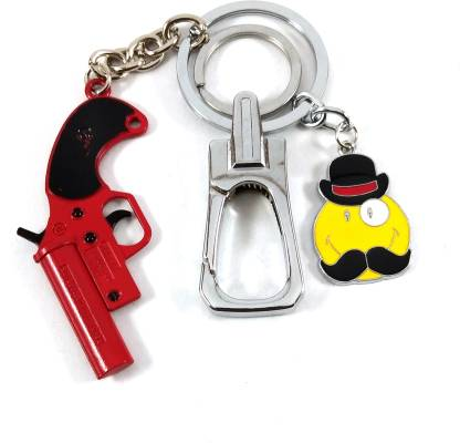 SHOKY LOOKS Red Metal PUBG Flare Gun with smiley Key Chain