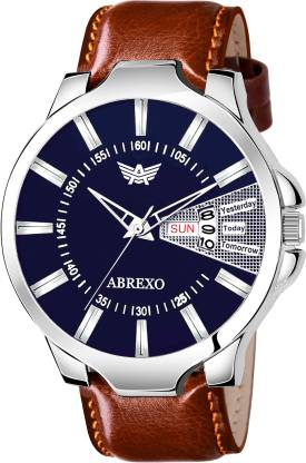 ABREXO 1191-BL BR Blue Dial Brown Strap Day & Date Functioning Watch For Boys Analog Watch - For Boys