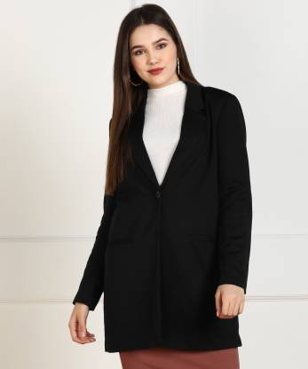 Solid Single Breasted Casual Women Full Sleeve Blazer(Black)