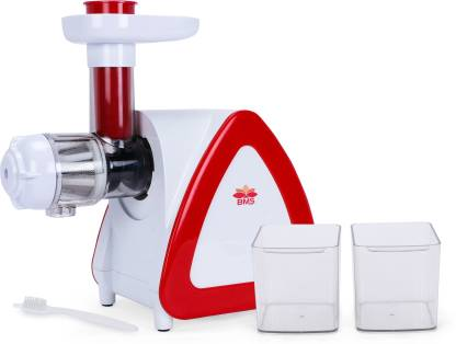BMS Lifestyle Slow Masticating juicer Extractor, Cold Press Juicer Machine, Quiet Motor, Reverse Function, High Nutrient Fruit and Vegetable Juice with Juice Jug & Brush for Cleaning 150 Juicer (white-red)