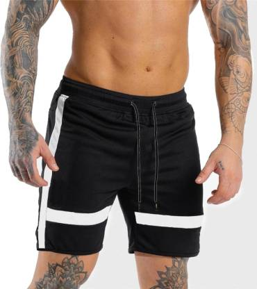 FastColors Solid Men White, Black Sports Shorts