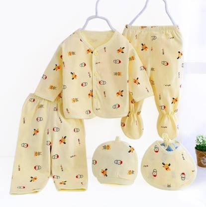 PIKIPOO Presents New Born Baby Summer Wear Baby Clothes 5Pcs Sets 100%  Cotton Baby Boys Girls Unisex Baby Cotton/Summer Suit Infant Clothes First  Gift For New Born.(Yellow, 0-6 Months) -   Buy