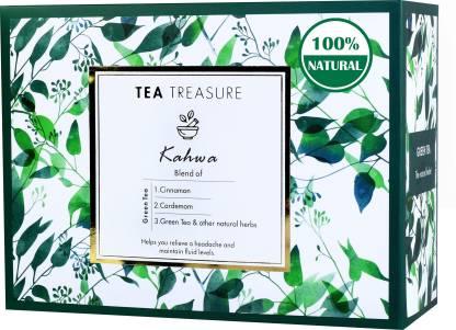 TeaTreasure Kahwa Cinnamon, Cardamom, Saffron Green Tea Box