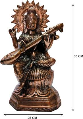 The Art Box Saraswati Maa Black Metal Statue Maa Saraswati Idol Saraswati Maa Chaduvula Pustakadharini Decorative Showpiece  -  53 cm