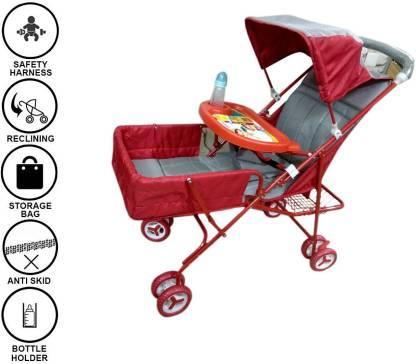 Baby Friends Pram (Buggy Stroller Cradle) With Free Baby Milk Bottle Pram