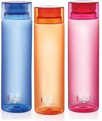 cello H2O Bottle , 1 Litre, Set of 3, Colour Assorted 1000 ml Bottle(Pack of 3, Multicolor, Plastic)